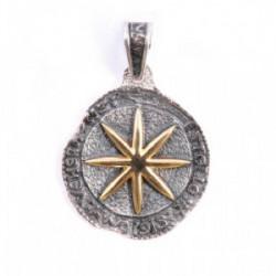 Colgante estella en plata y oro de 18k.