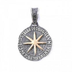 Colgante Estrella mediano plata oro 18 k
