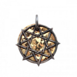 Colgante octograma plata chapa oro 18 kt