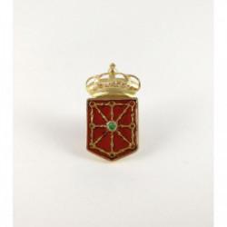 Pin escudo Navarra oro 18 k esmeralda