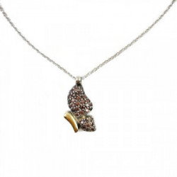 Collar mariposa, plata oro , zirconitas