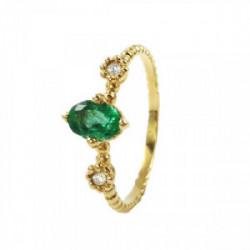 Anillo oro esmeralda brillantes