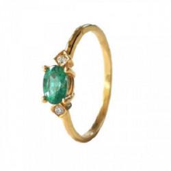 Anillo oro  esmeralda diamantes