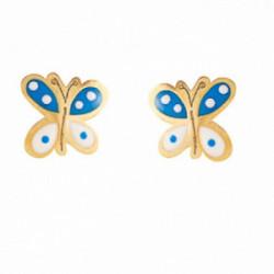 Pend. mariposa esmalte oro 18k