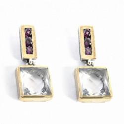 Pendientes Styliano plata oro cuarzo rosa