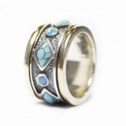 Alianza Styliano plata oro turquesa howlita