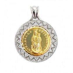 Medalla Virgen del Puy. Bicolor. Brillantes.