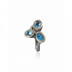 Anillo Styliano plata oro topacio azul
